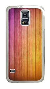 Samsung Galaxy S5 Case, Pink Yellow Gradients Clear Plastic Hard Snap on Protective Case Back Cover for Samsung Galaxy S5 I9600