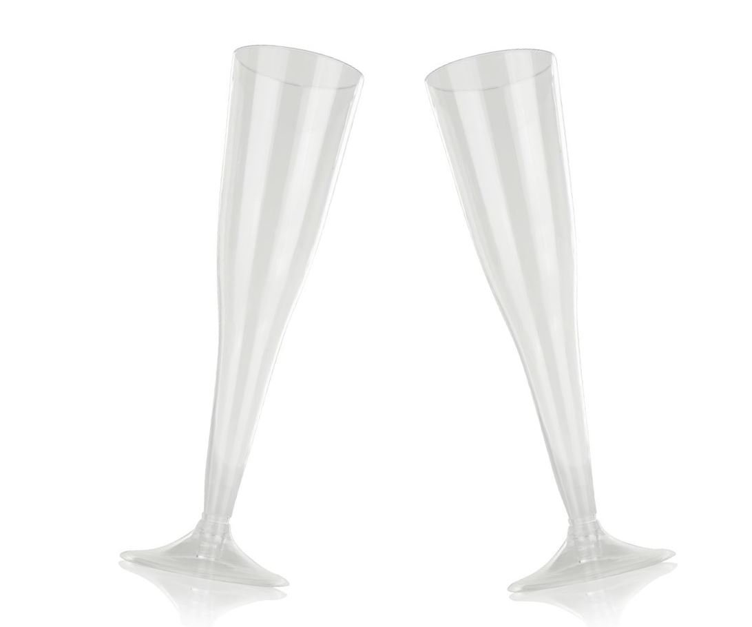 High Quality Hard Plastic Clear Champagne Flutes. 6 Ounce Capacity, Set of 12 Disposable Glass Drinkware.