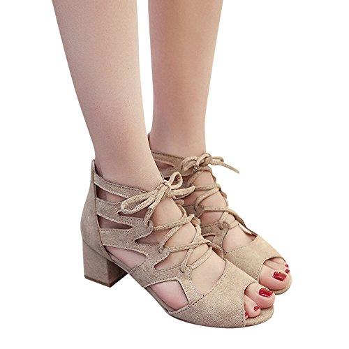 Zeppe Sexy Sandali Tacco Romane Con Beige Da Scarpe Estive Scamosciata Spessi Panpany Alte Donna Cinturini In sandali Estivi Eleganti Pelle XYrwqxRfdr