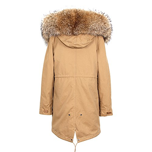 promo code d3607 d887e Jsix Womens Parka Coat Jacket Detachable Real Fur Collar and ...