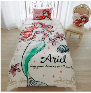 Disney Ariel duvet cover, sheets, pillow case three-piece set single by Disney