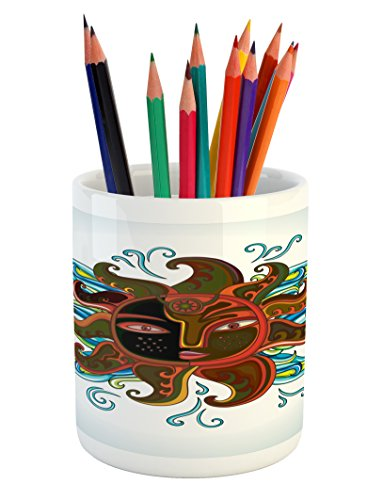 Aztec Pencil Pen Holder by Lunarable, Ethnic Sun Figure with Face and Curly Rays Abstract Artistic Morning, Printed Ceramic Pencil Pen Holder for Desk Office Accessory, Dark Orange Yellow Blue