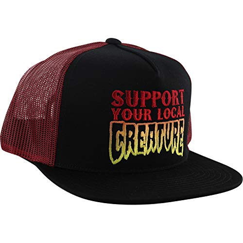 Creature Skateboards Support Black/Cardinal Mesh Trucker Hat - ()