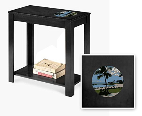 New Black Finish End Table featuring Hawaii Logo by The Furniture Cove
