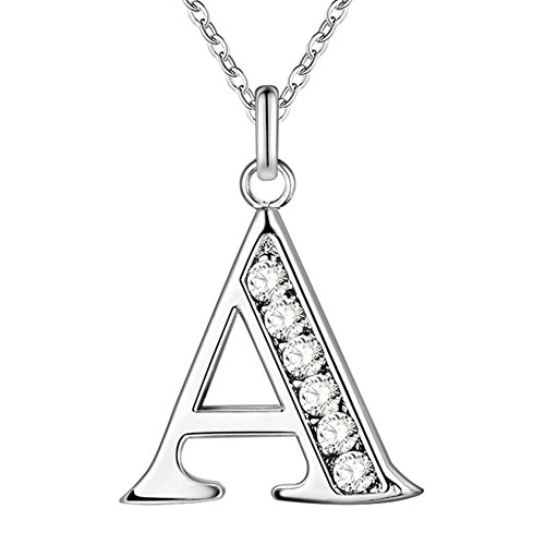 MONJER Initial 26 Letters Alphabet Personalized Monogram Name Charms Pendant Necklace for Women Silver Link Chain Jewelry with Cubic Zirconia - Letter A - Monogram Letter Charm