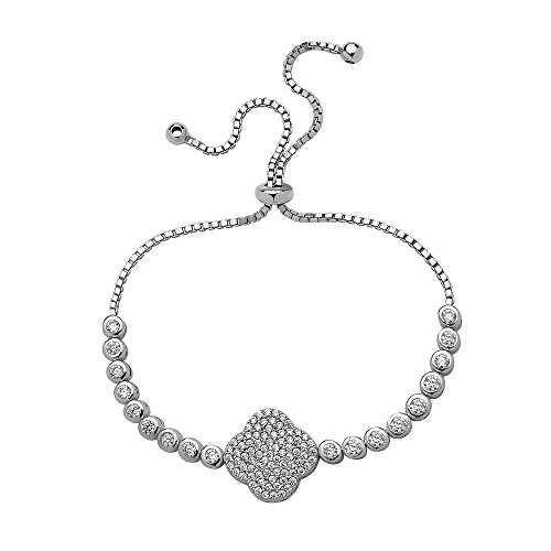 Crush Fancy Crystal Lucky Clover Bracelet 925 Sterling Silver Adjustable Clover Tennis Bracelet