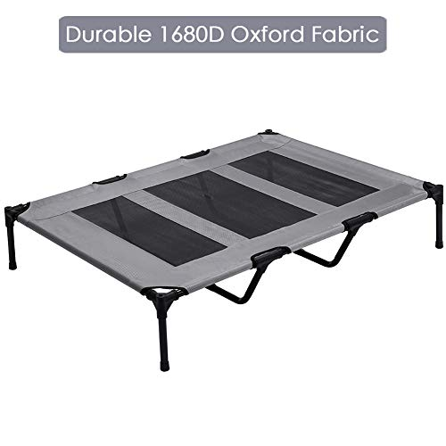 SUPERJARE XLarge Outdoor Dog Bed, Elevated Pet Cot with Canopy, Portable for Camping or Beach, Durable Oxford Fabric, Extra Carrying Bag - Dark Gray