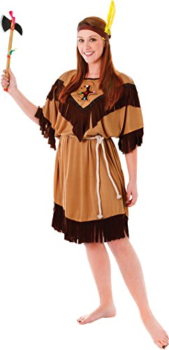 Adult Ladies Native Indian Squaw Fancy Dress Party Costume Pocahontas Outfit 10-14 (Squaw Costume)