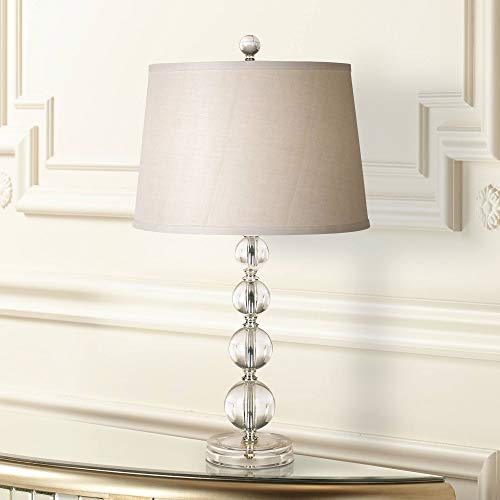 Herminie Modern Accent Table Lamp Stacked Clear Acrylic Ball Open Design Off White Drum Shade for Living Room Family Bedroom - 360 - Acrylic Lamp Base