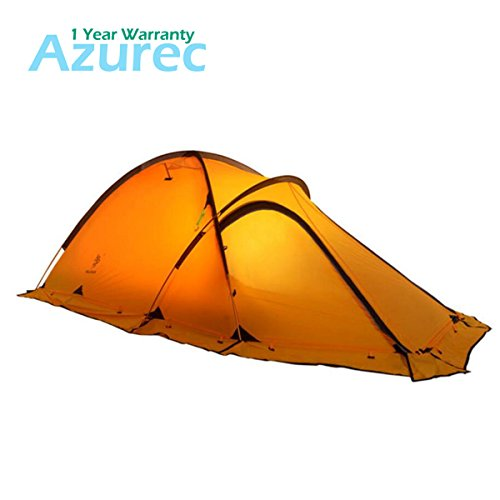 Azurec 2 Person 4 Season Lightweight 20D Silicone Coating Fabric Waterproof Double Layer Alpine Backpacking Tent with A Hall for Camping Hiking