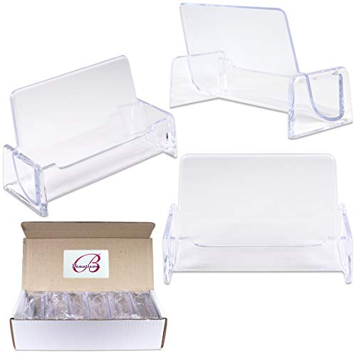 (Beauticom 12 Pieces - Clear Plastic Business Card Holder Display Desktop Countertop (Style # 3))