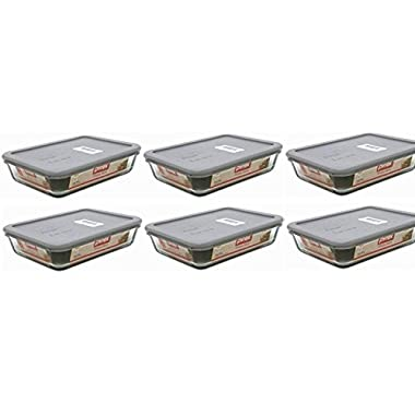 Pyrex 3-cup Rectangle Glass Food Storage Sets (3 cup Containers (Pack of 6), Grey Lid)