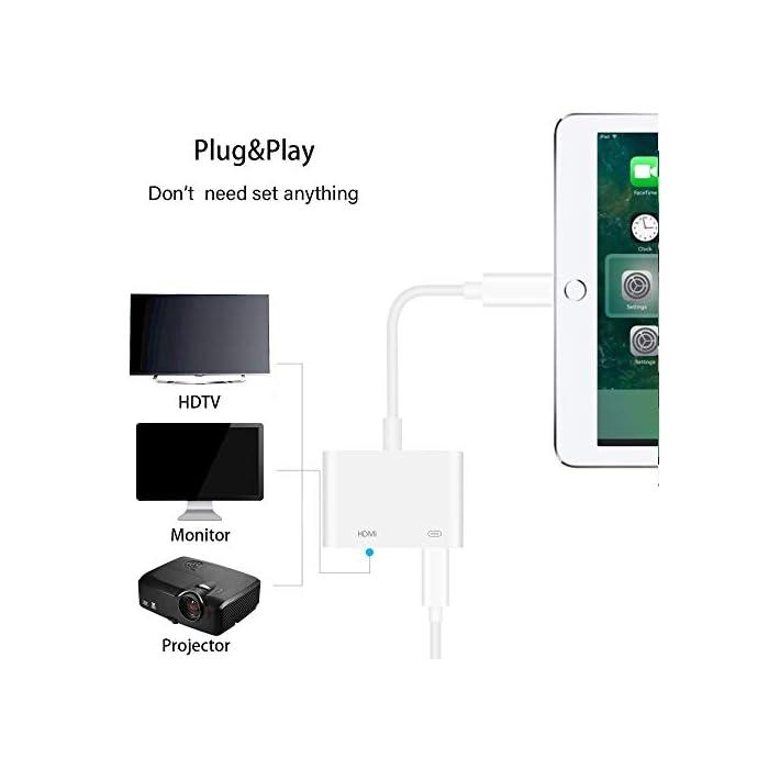 41T9sZd7LYL Haz clic aquí para comprobar si este producto es compatible con tu modelo ENCHUFE Y REPRODUCCIÓN: el adaptador de cable HDMI admite la duplicación de su teléfono / teclado, incluidos videos, aplicaciones, presentaciones, sitios web y presentaciones de diapositivas. Si conecta cada interfaz al dispositivo correspondiente, la conexión se establece automáticamente. Adaptador AV HDTV FULL 1080P EDICIÓN : Películas, programas de TV, grabaciones de video en pantallas grandes en hasta 1080P HD. Ofrece una experiencia visual ultra clara a una velocidad excesiva.