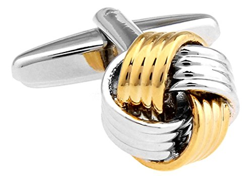 Knot 2 Two Tone Bands Cufflinks with a Presentation Gift Box