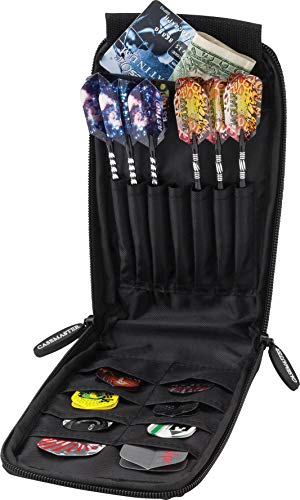 Casemaster Mini Pro Black Leatherette Dart Case with Room for 6 Darts, Steel Tip or Soft Tip, with Slim Profile Leather-Like Covering and Built-in Pockets for Flights, Shafts and Tips