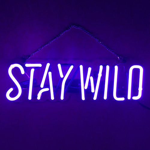 LiQi STAY WILD Real Glass Handmade Neon Wall Signs for Room Decor Home Bedroom Girls Pub Hotel Beach Cocktail Recreational Game Room (13' x 4')