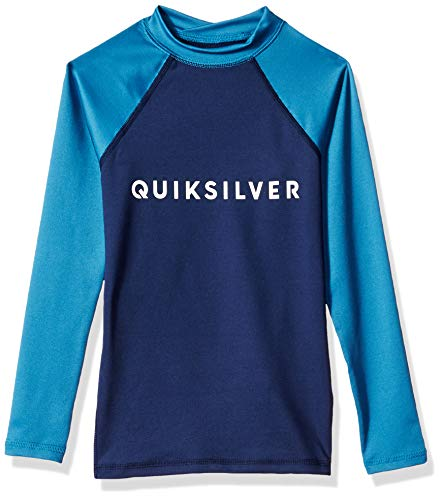 Quiksilver Little Boys' Always There Long Sleeve Youth Rashguard UPF 50+, Medieval Blue, S/10 ()