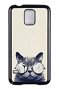 Generic Custom Picture Cat With Glasses Hard PC Snap On Skin Cover Back Cell Phone Case For Samsung Galaxy S5 wangjiang maoyi by lolosakes