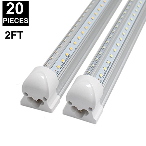 CNSUNWAY 2ft 14-Watt LED Tube Lights, Dual-sided V Shape Integrated, AC85-265V, SMD2835 Clear Cover, Cool White 6000K, LED Cooler Door Lights (20-Pack) by CNSUNWAY LIGHTING