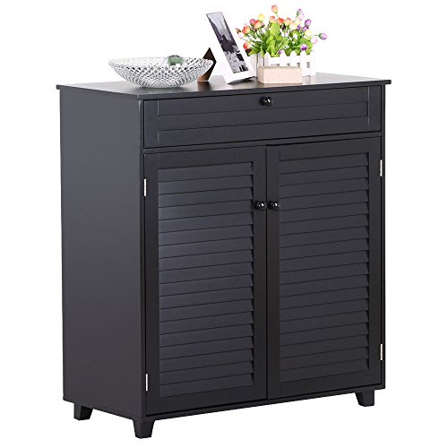 New Black 3 Shelves Shoe Rack Storage Cabinet 1 Drawer 2 Doors Entryway Hallway Furniture - Natural Cherry 2 Door Cabinet