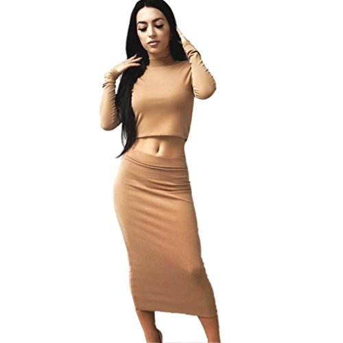Cocktail Dress, Zulmaliu Long Sleeve Tops + Skirt Mock Neck Party Two Pieces Midi Outfit (M, Khaki) (Pretty Outfit Party)
