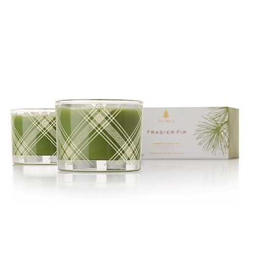 Thymes Frasier Fir Aromatic Poured Candle Set 2 x 3.75 oz