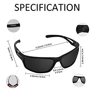 Sports Sunglasses, CHEREEKI Polarized Glasses Eyewear with UV400 Protection & TR90 Unbreakable Frame For Men Women…