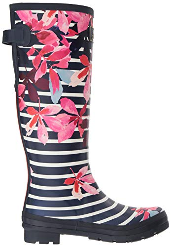 Leaves French Boot Welly Women's Print Stripe Chestnut Navy Rain Joules XwRpqxH8a