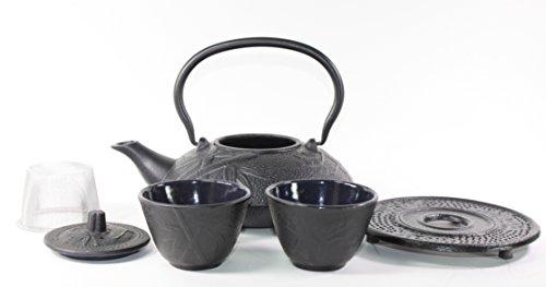 Japanese Antique 24 Fl Oz Black Pine Plum Bamboo Cast Iron Teapot Tetsubin with Infuser Tea Set with Trivet