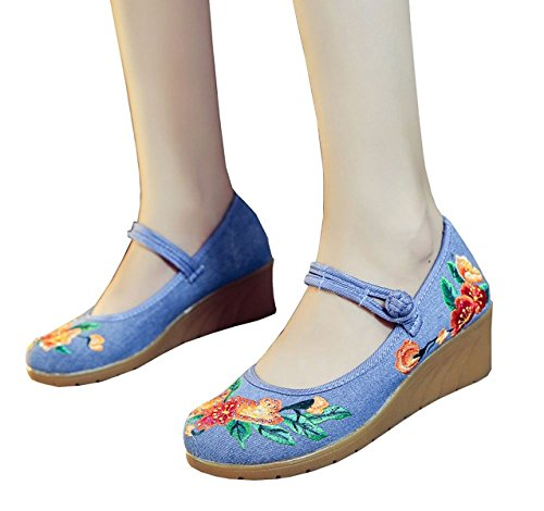Style Platform Walking Lazutom Embroidery Casual Party Comfortable Blue Shoes Dress Lady Chinese Women Wedge Linen BBqn4zStw
