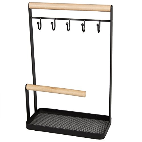 Creative Home Wire Jewelry and Watch Stand, Hanger, Organizer with with Black Powder Coating, Acacia Wood, 7-7/8