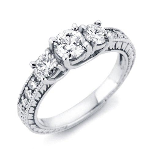 1 cttw Vintage Diamond Three Stone Engagement Ring 14K White Gold