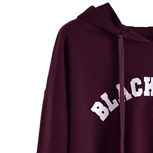 Chemise Du Sweatshirt Longues Femme Capuche Blanche Trydoit Manches Vin qIwf0xd
