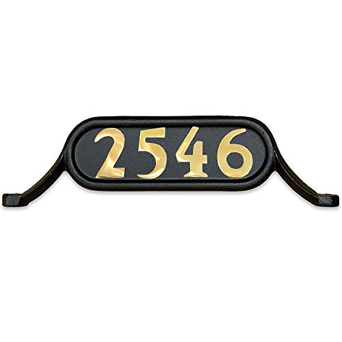 (Addresses of Distinction Williamsburg Style 2 Address Plate - Contemporary Plaque for House Numbers - Rust Proof Aluminum Mailbox Topper - Mounting Hardware Included (Solid Brass Numbers))