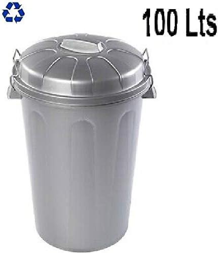 PLASTIFORTE Cubo de Basura con Tapa 100 litros basurero Gris con Asas de presión: Amazon.es: Hogar