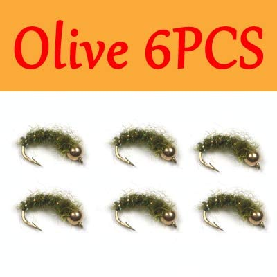 Fishing Lures - 6PCS Olive & Grey Caddis Nymph Fly Stonefly Nymphs Flashabou Rib Body Trout Fly Fishing Lures - - (Color: Olive 6PCS)
