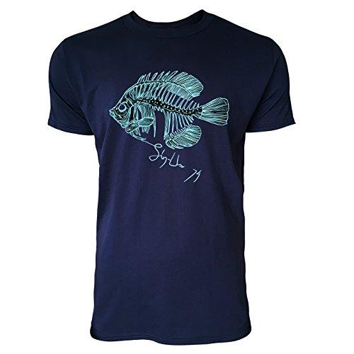 SINUS ART ® Handgezeichnete Fischgräte Herren T-Shirts in Navy Blau Fun Shirt mit tollen Aufdruck