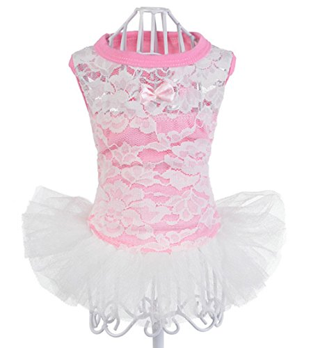 Freerun Pet Dog Summer Dress Breathable Flower Mesh Lace Vest Tutu Puppy Dog Cat Clothing Costume - Pink, (Homemade Puppy Costumes For Kids)