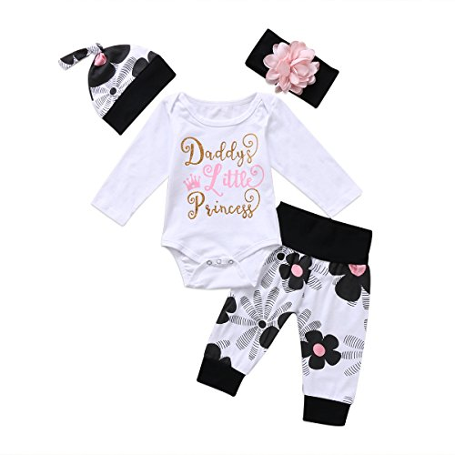 4 pcs Baby Girls Pants Set Newborn Infant Toddler Letter Romper Arrow Heart Pants Hats Headband Clothes (White 00, 18-24 Months) ()