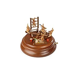 ISDD Cuckoo Clocks Electronic Music box, easter bunny's in the playground with moving see-saw, original Erzgebirge by Mueller Seiffen