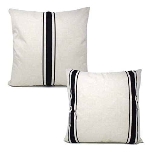 The Southern Jarring Co. Decorative Throw Pillow Covers - 18x18 Farmhouse Cushion Covers for Couch or Bed - Inserts Not Included - (Black Ticking Stripes, 2-Pack) (Pillows Ticking Stripe)