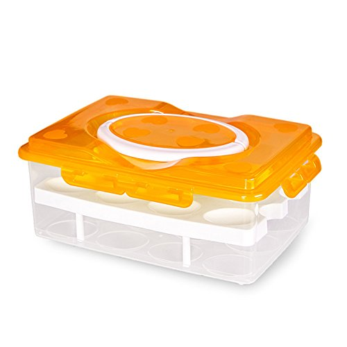 Daixers Ortable Large Capacity Double-layers Egg Storage Container Holds 24 Eggs Shatter-proof Non-slip Eggs Holder with Handle - Can Gift Cards Where Buy I Online