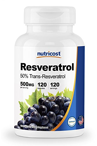 Nutricost Resveratrol 500mg; 120 Capsules - 50% Trans-Resveratrol (Mg Resveratrol 500)