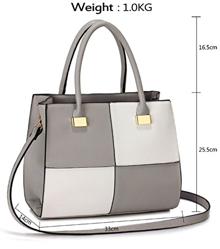 Designer Fashion Womens Grey Large Large 1 Medium Faux Bags Medium White Ladies Large Handbags Extra Leather Design fIqdEA