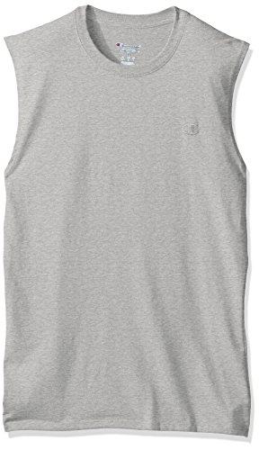 Champion Men's Classic Jersey Muscle T-Shirt, Oxford Gray, S