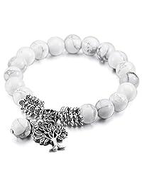 MOWOM Multicolor 10mm Wide Alloy Bracelet Link Wrist Energy Stone Buddha Mala Bead Tree Of Life Elastic