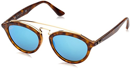 Ray-Ban INJECTED WOMAN SUNGLASS - MATTE HAVANA Frame LIGHT GREEN MIRROR BLUE Lenses 50mm Non-Polarized