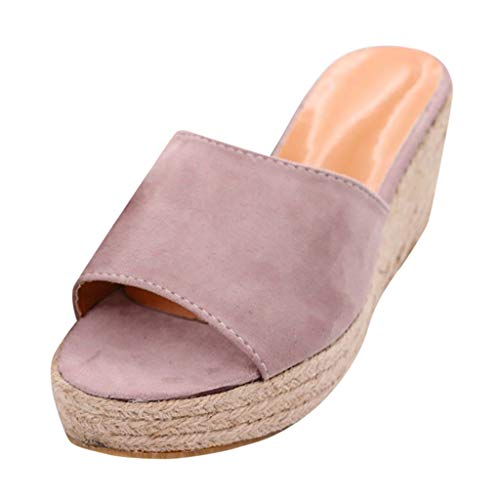 zongrong Women's Fashion Wedge Casual Woven Hemp Thick Sole Solid Fish Mouth Slip Open Toe Roman Slippers Shoes Sandals Pink