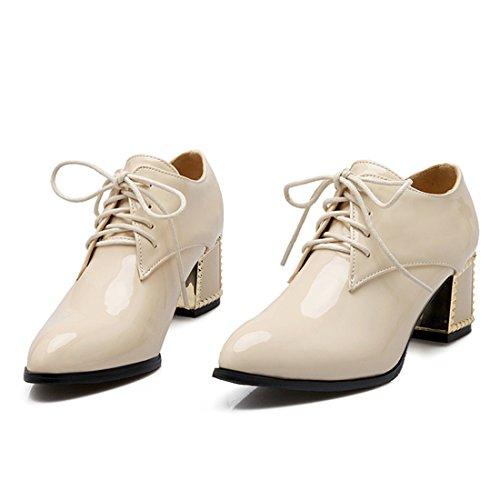 YE Damen Chunky Heels Lack Pumps Spitze High Heels mit Schnürung und Blockabsatz 6cm Elegant Bequem Schuhe Beige