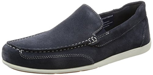 Rockport Bennett Lane 4 Venetian, Mocasines para Hombre Blue (new Dress Blue Suede)